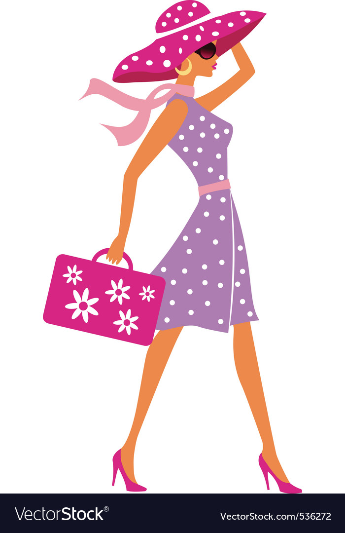 Beauty travel girl with baggage vector image