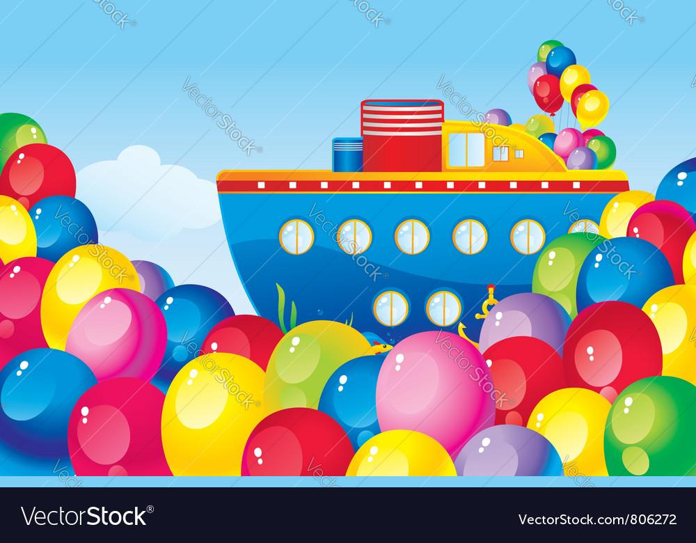 Birthday boat vector image