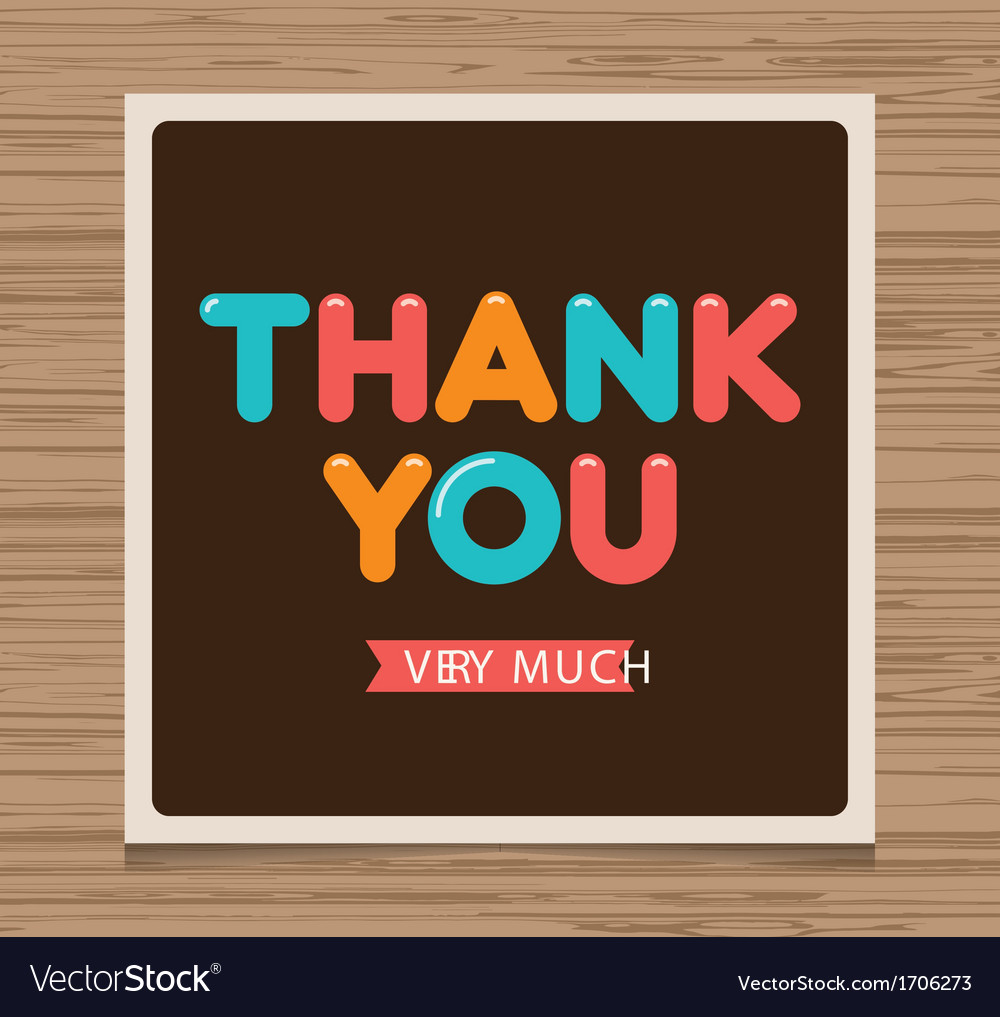Thank you card brown vector image