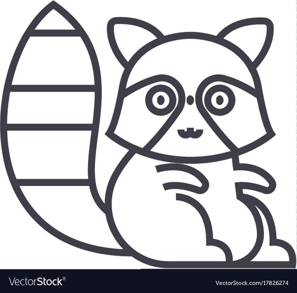 Cute badger line icon sign vector image