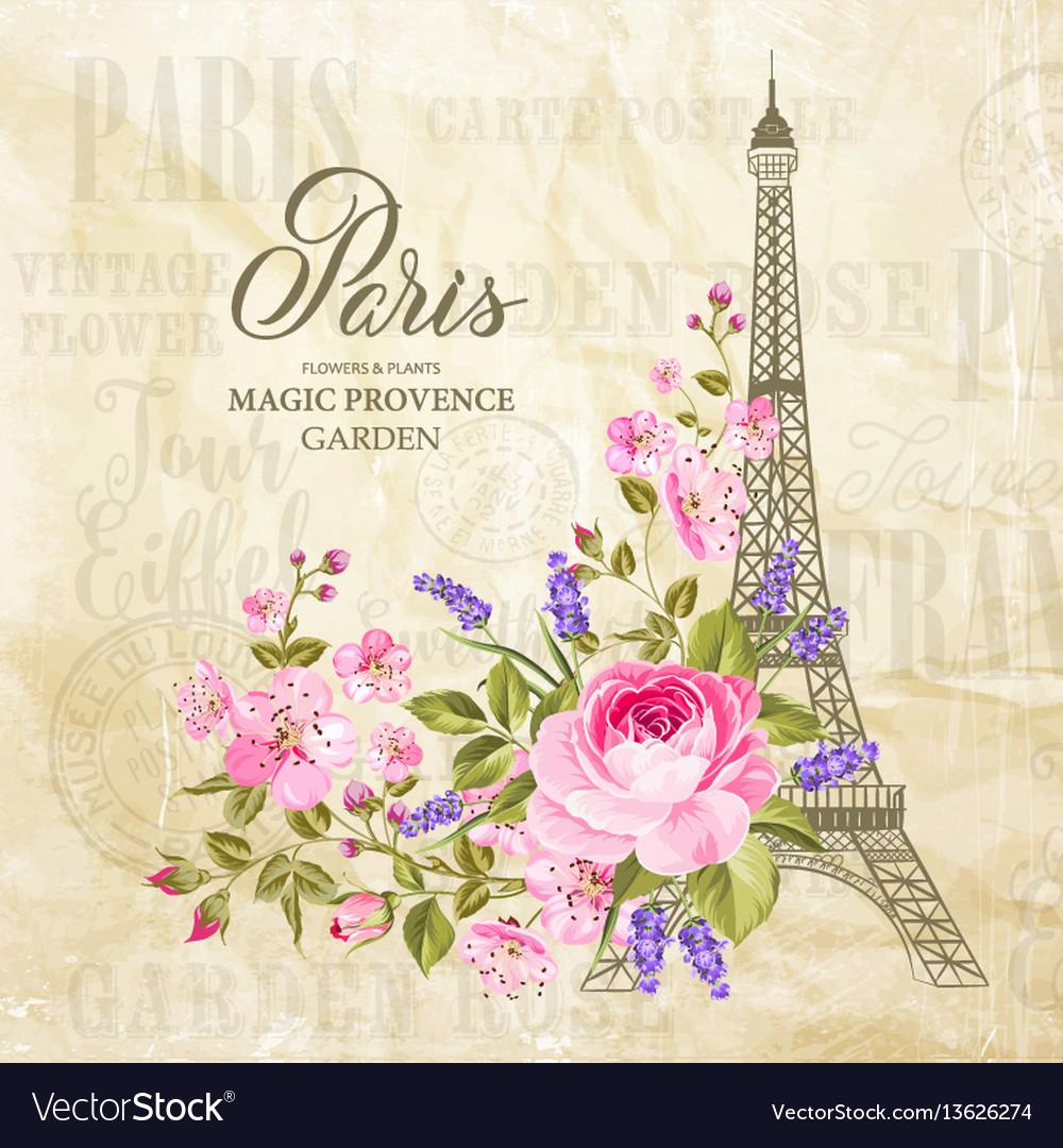 Eiffel tower card vector image