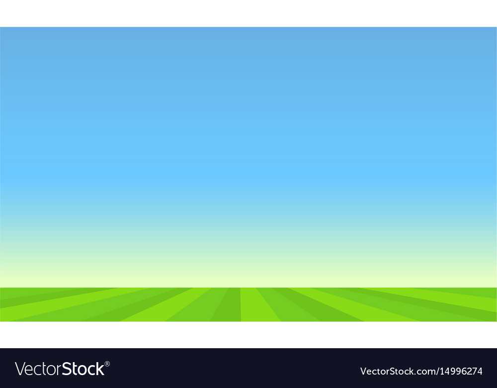 Green pasture and blue sunny sky vector image
