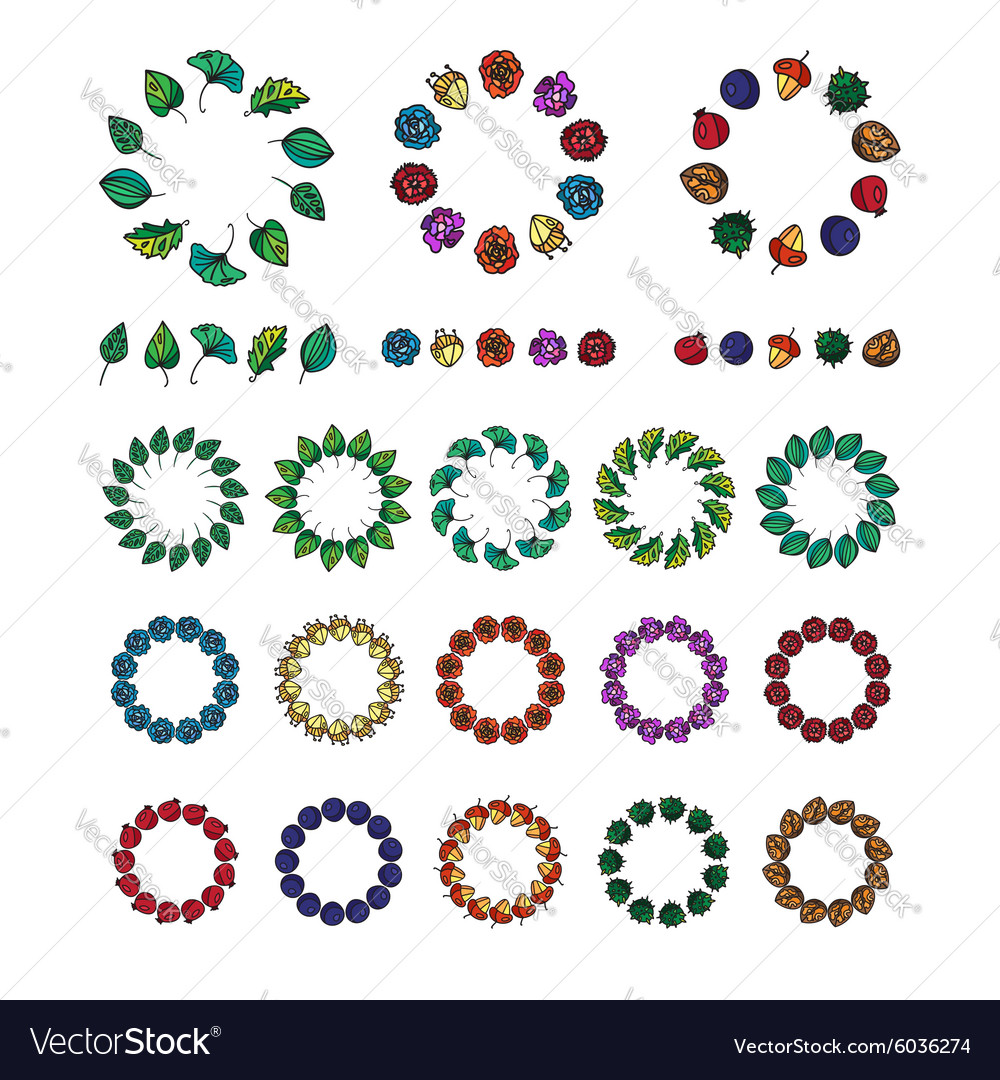 Vintage flowers fruits and leaves frames vector image