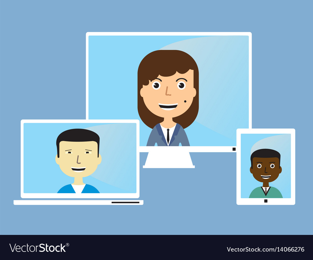 Face in the monitor vector image