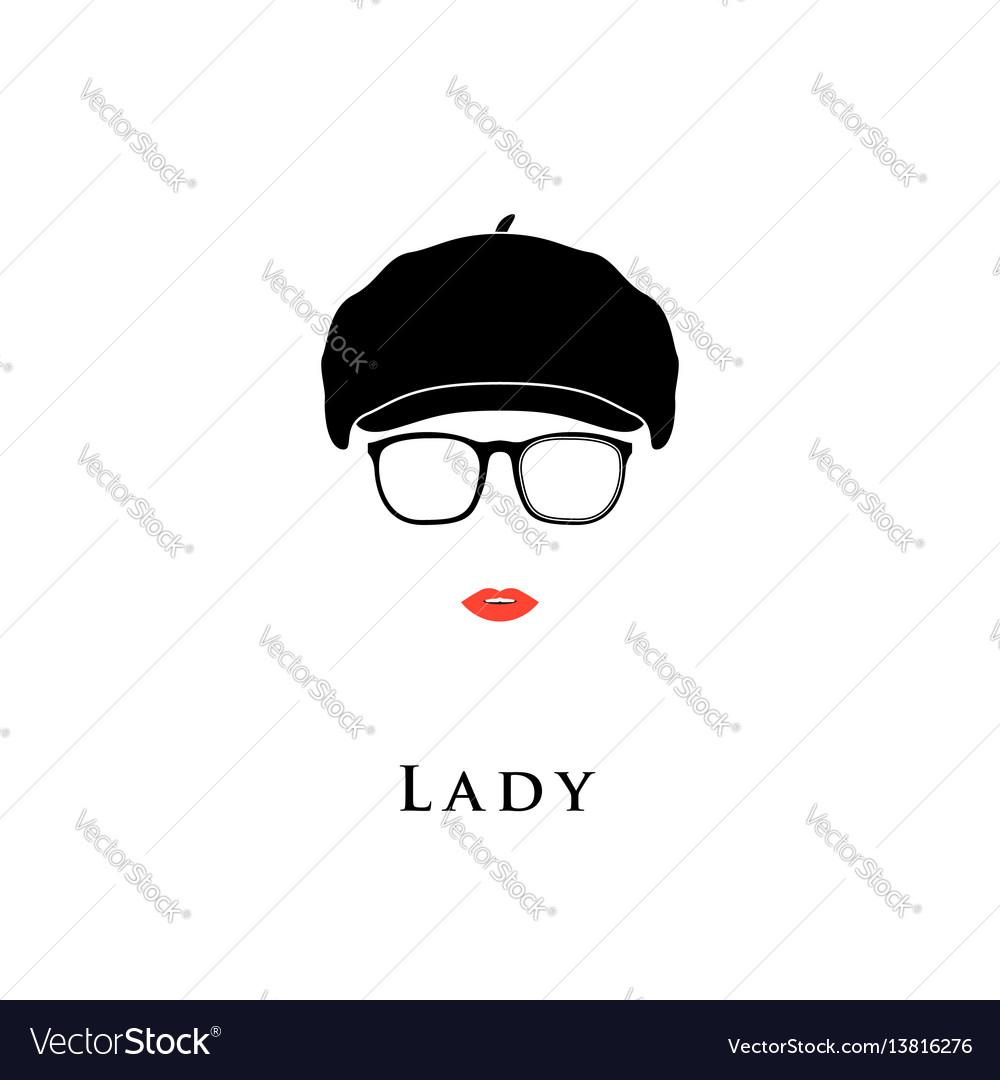 Lady in vintage beret vector image