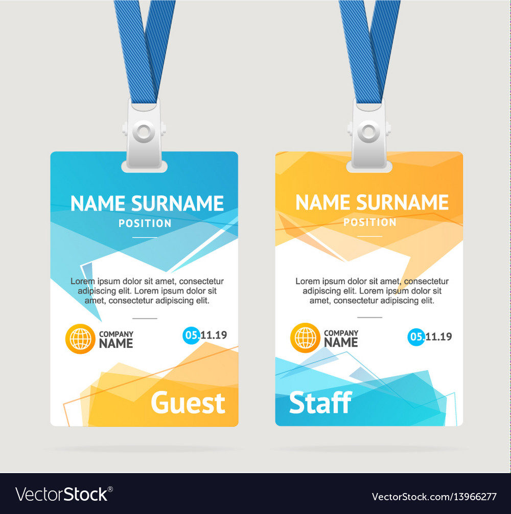Id card template plastic badge Royalty Free Vector Image