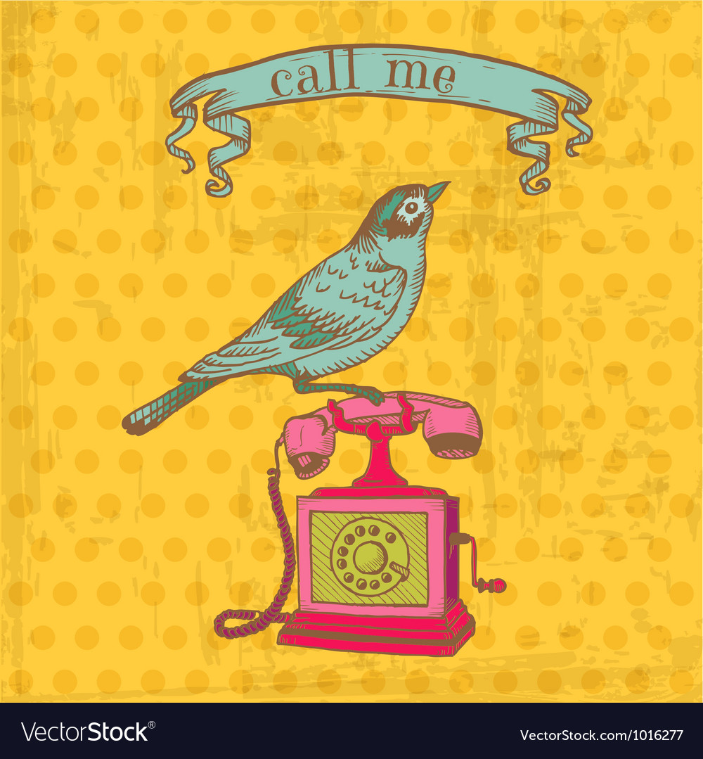 Vintage Telephone with a Bird vector image