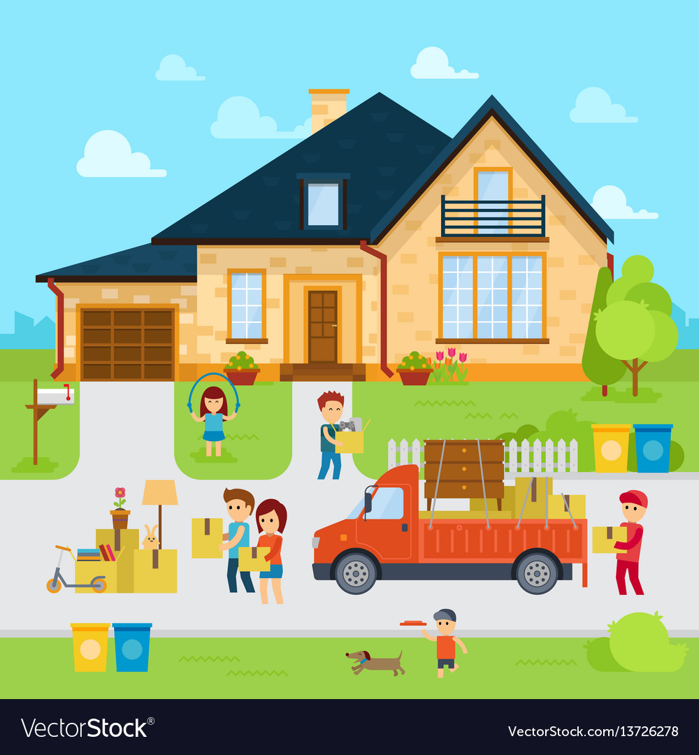 People moving into a new home stock flat vector image for Moving to new house