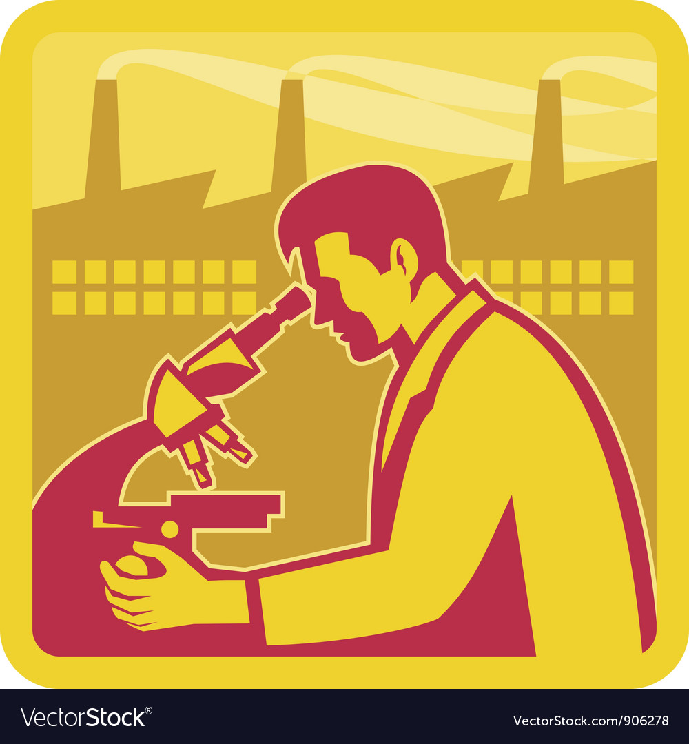 Scientist Researcher Factory Vector Image