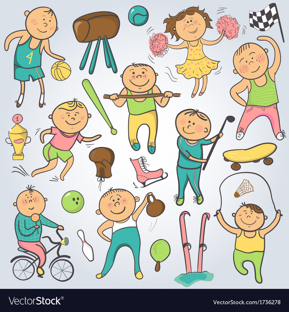 cartoon sport players doodle character royalty free vector