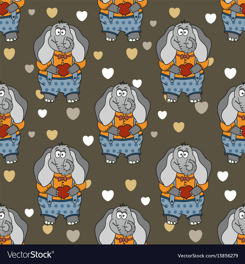 Cartoon of funny cute elephant in vector image