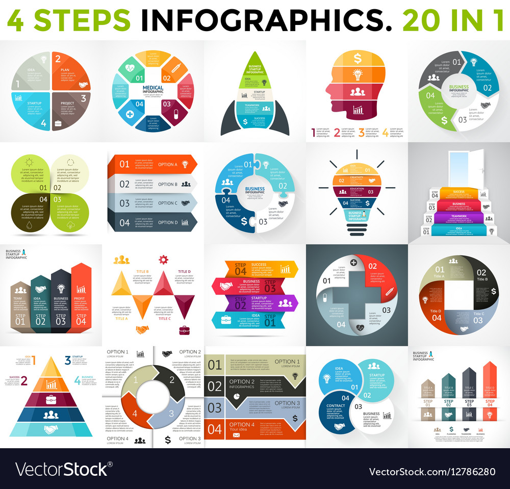 Best infographics set Business diagrams vector image