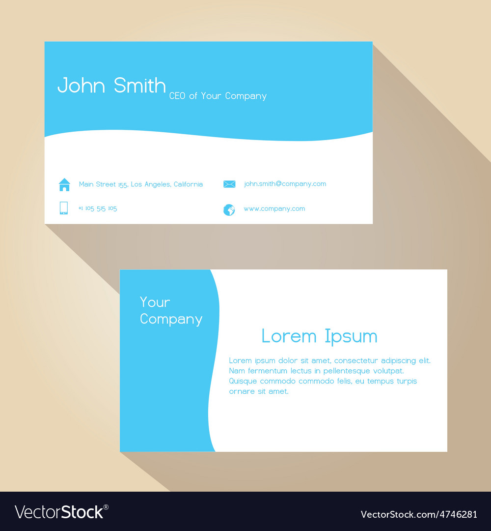 Blue and white simple business card design eps10 Vector Image