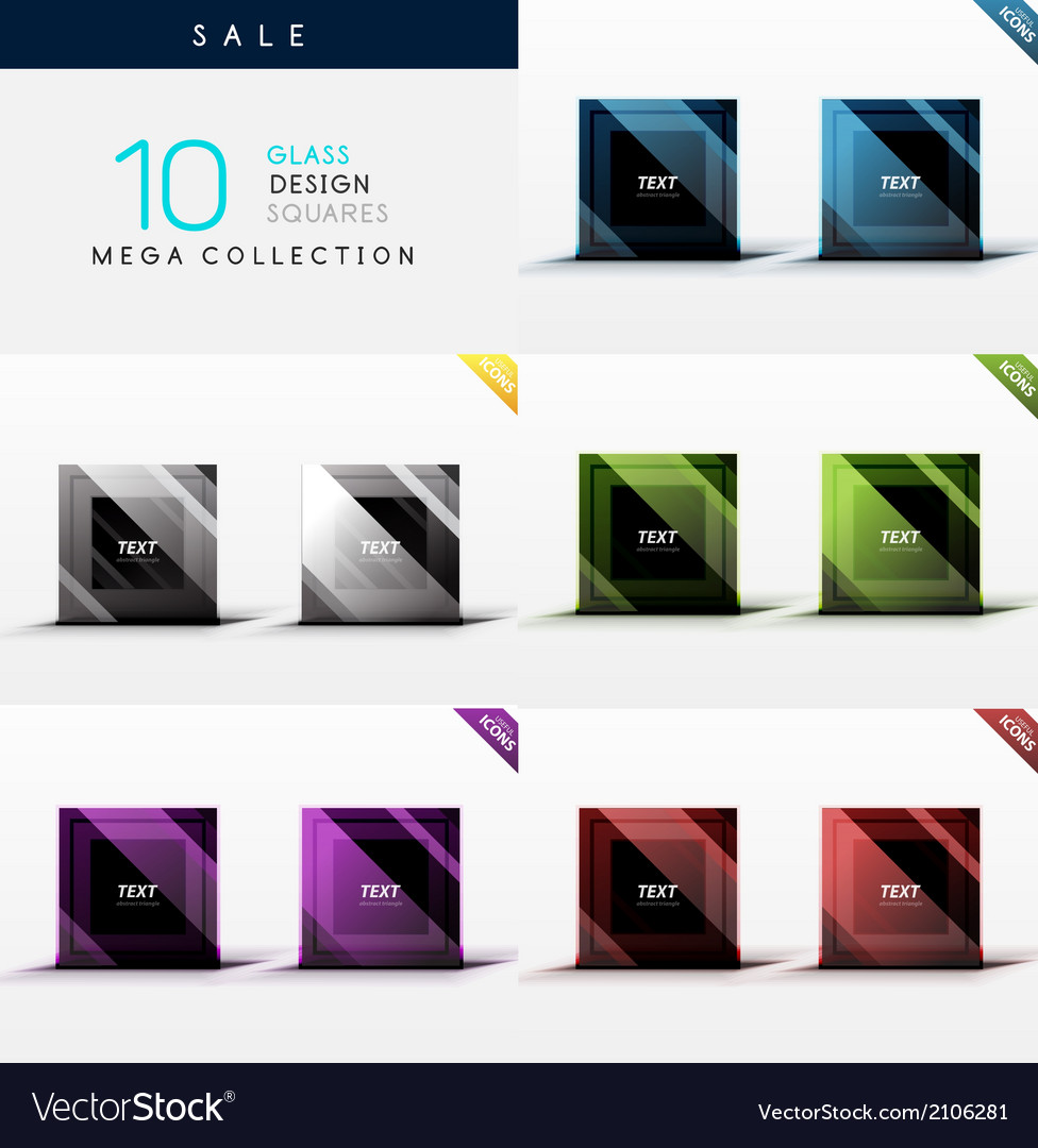 Collection of glass square web boxes vector image