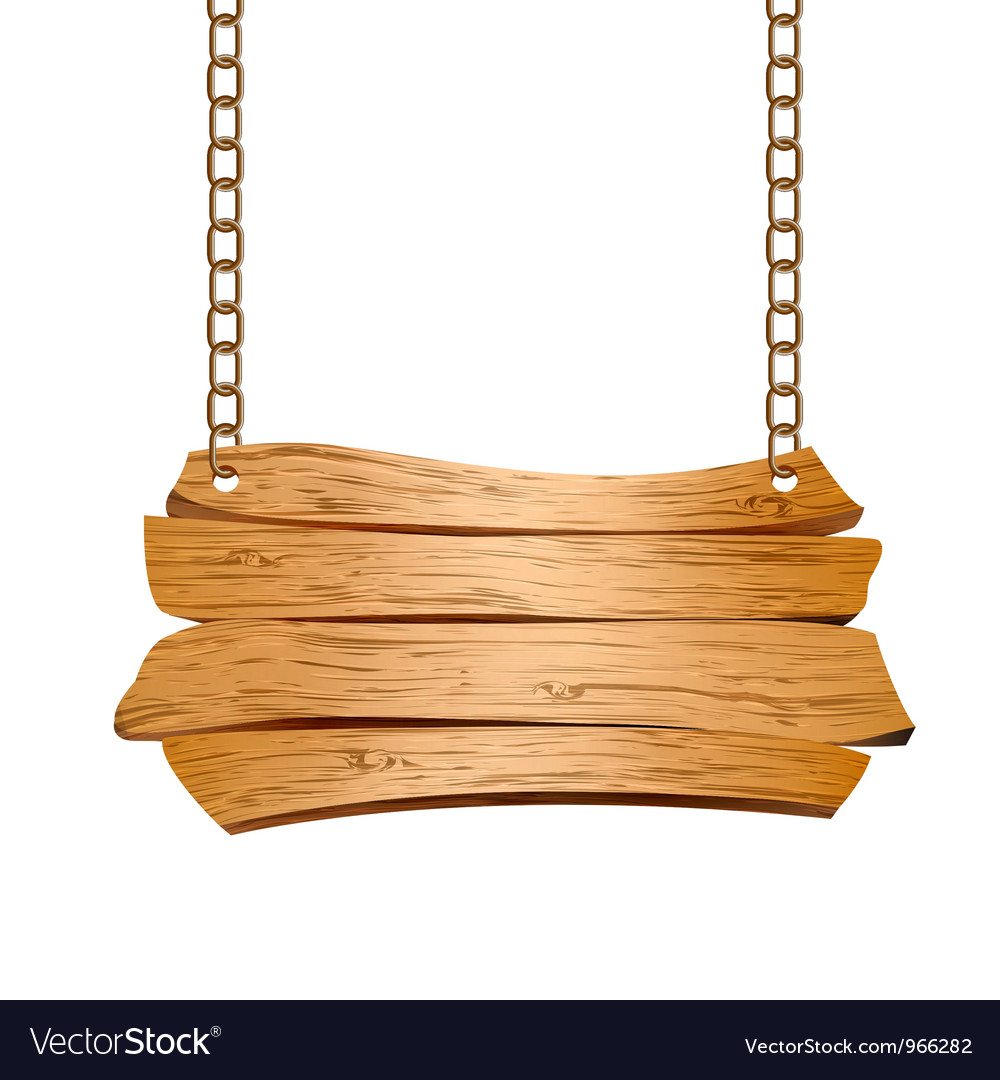 Wooden sign suspended on chains vector image