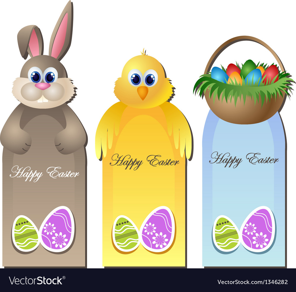 Easter greeting card set with cartoon characters vector image kristyandbryce Gallery