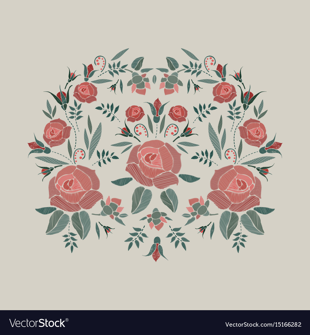 Embroidered composition with roses flowers buds vector image