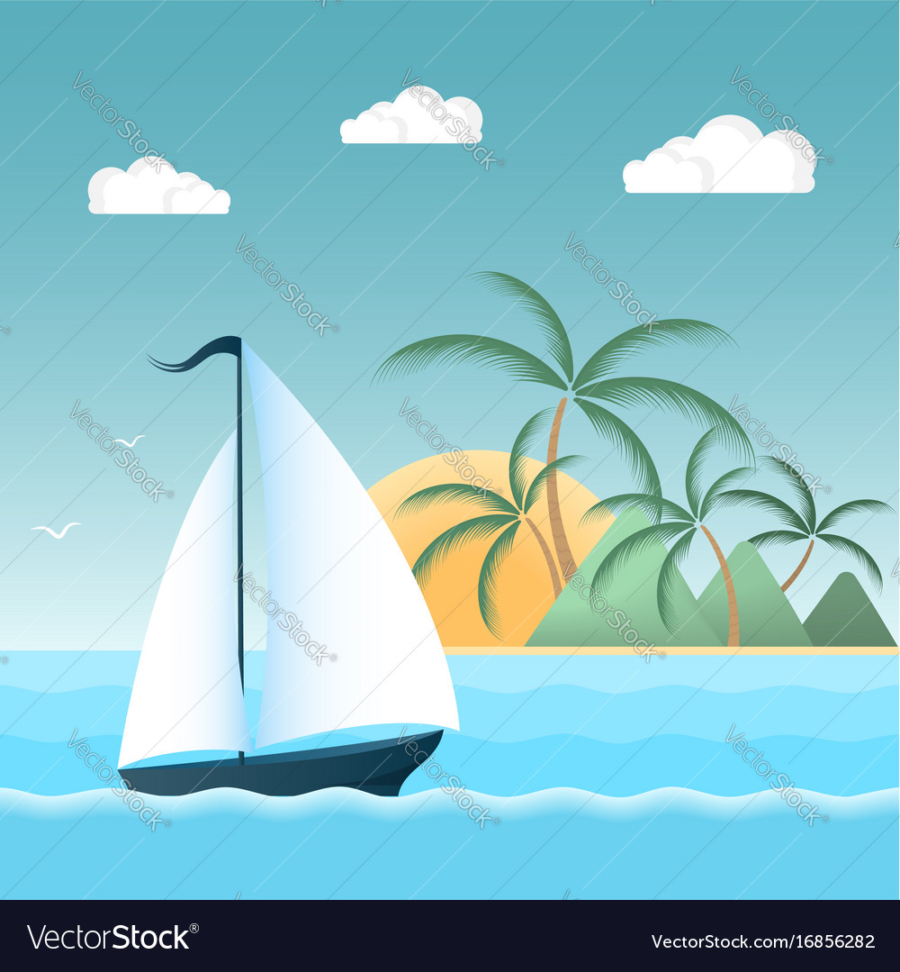 Sail boat on the waves tropical island with palm vector image