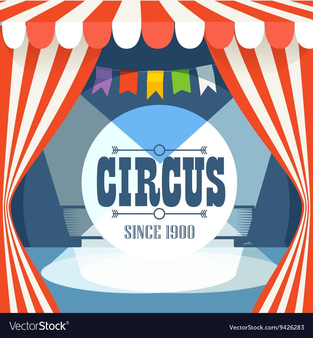 Circus postcard template Design elements vector image