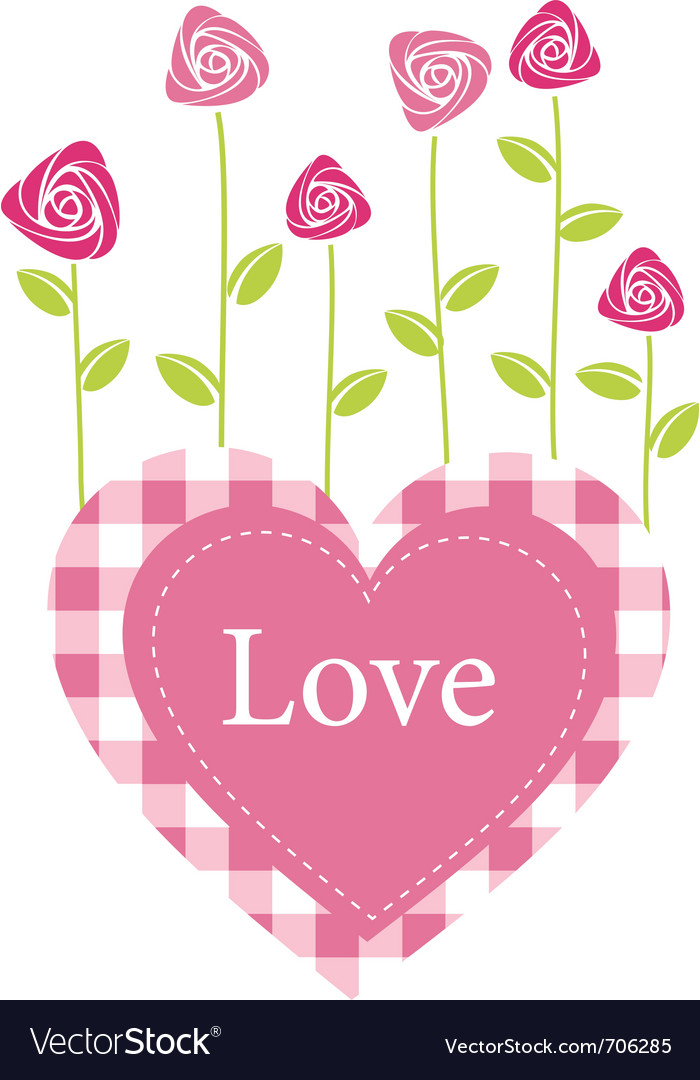Roses valentines card vector image