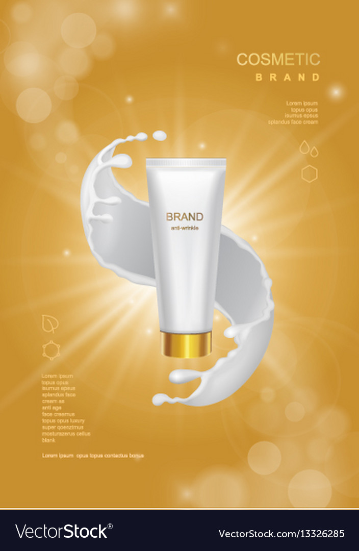 Cosmetic product poster tube bottle package vector image