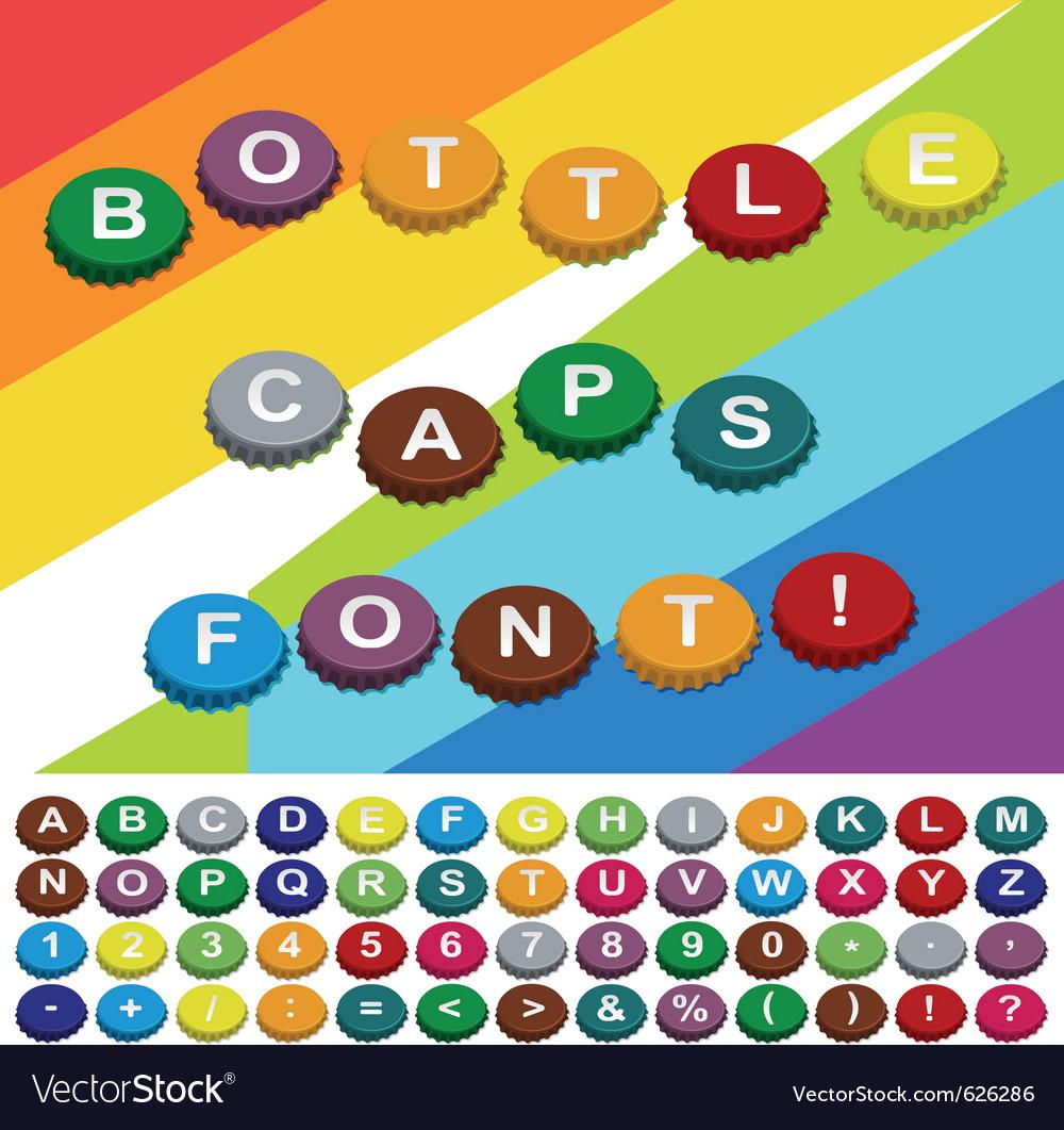 Bottle caps font vector image