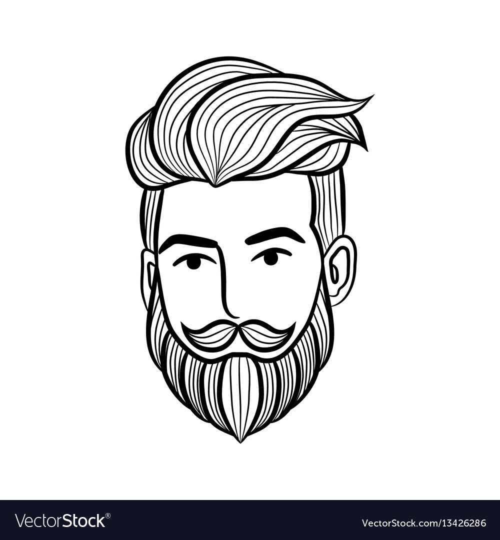 Beard man logo element vector image