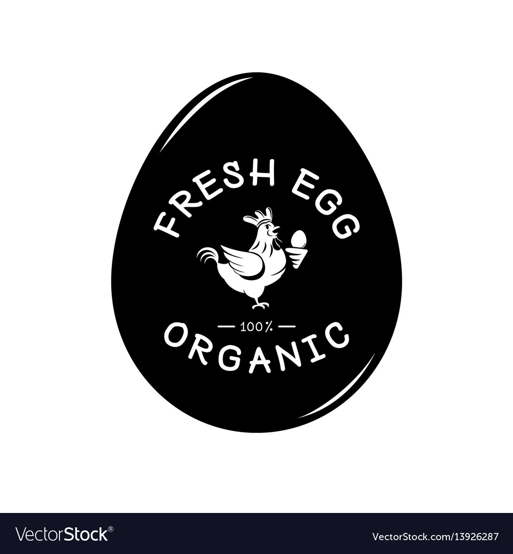 Fresh egg logo with hen and egg form background vector image