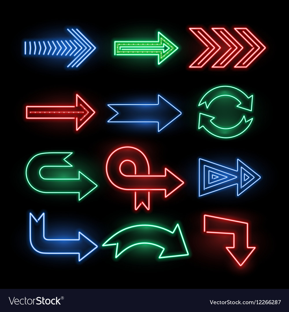 Retro neon direction arrow signs icons vector image
