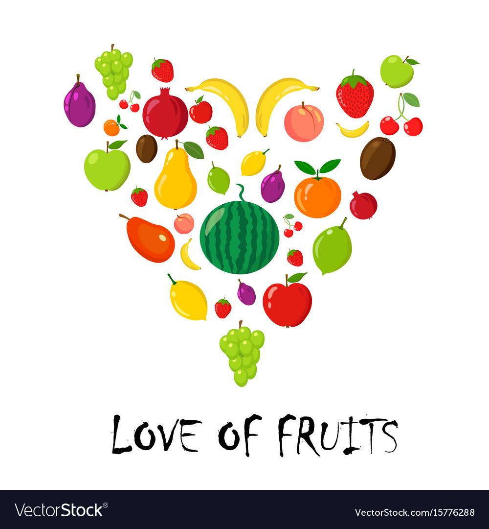 Fruits random piramyda on white vector image
