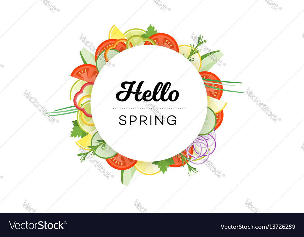 Hello spring food banner with vegetables isolated vector image