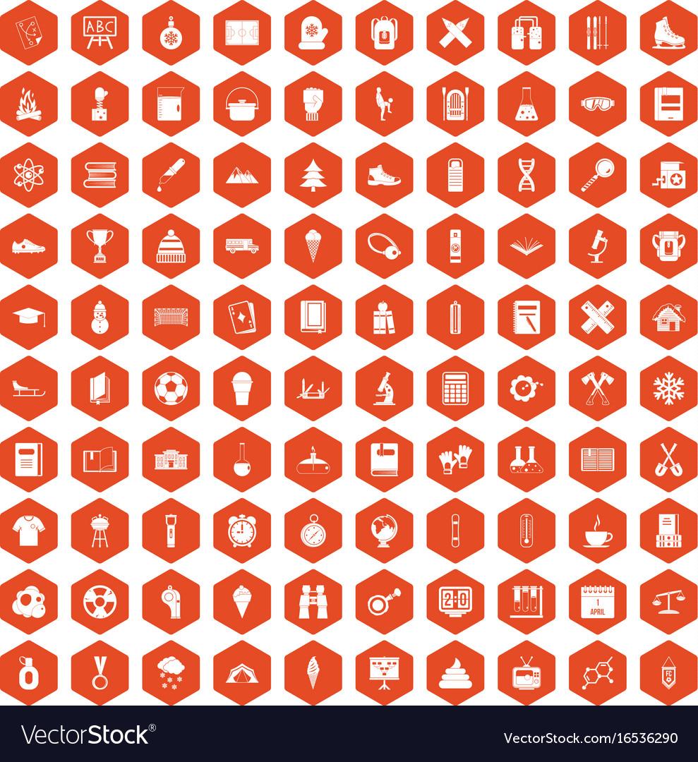 100 school years icons hexagon orange vector image