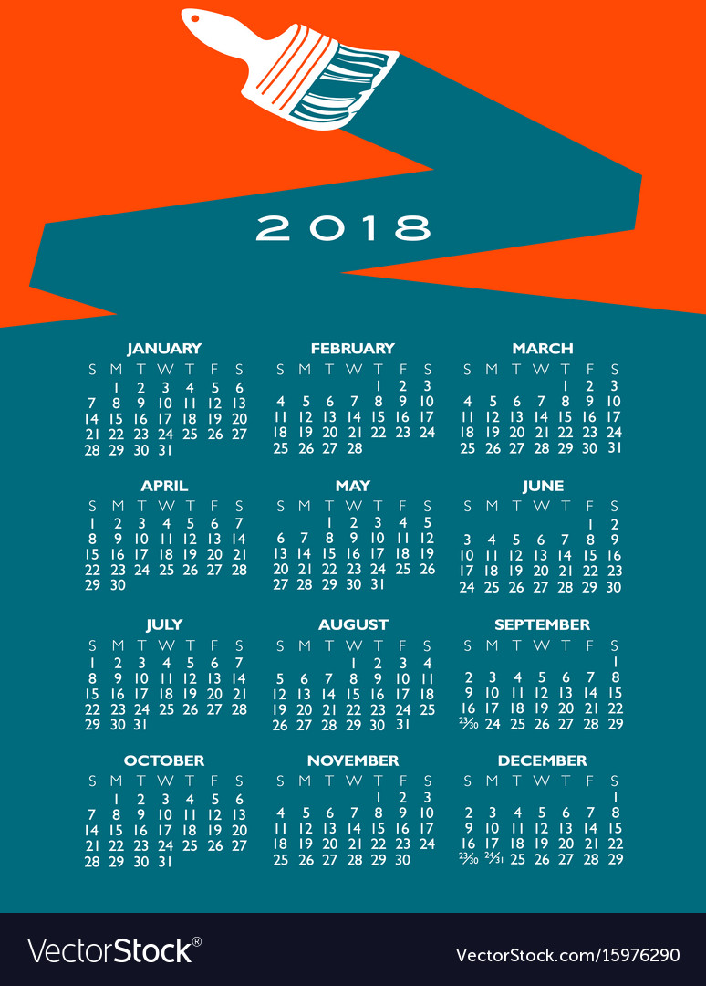 2018 creative painting calendar vector image