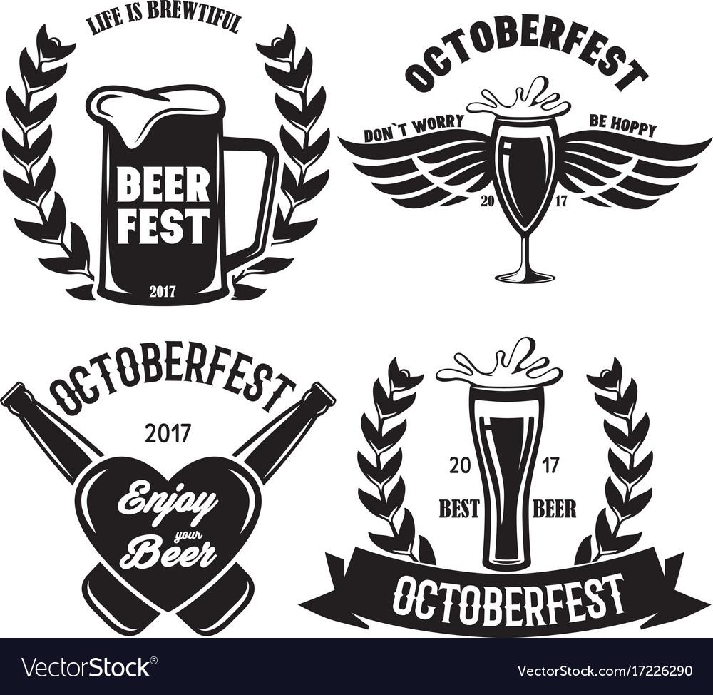 Oktoberfest beer festival typography emblem beer vector image