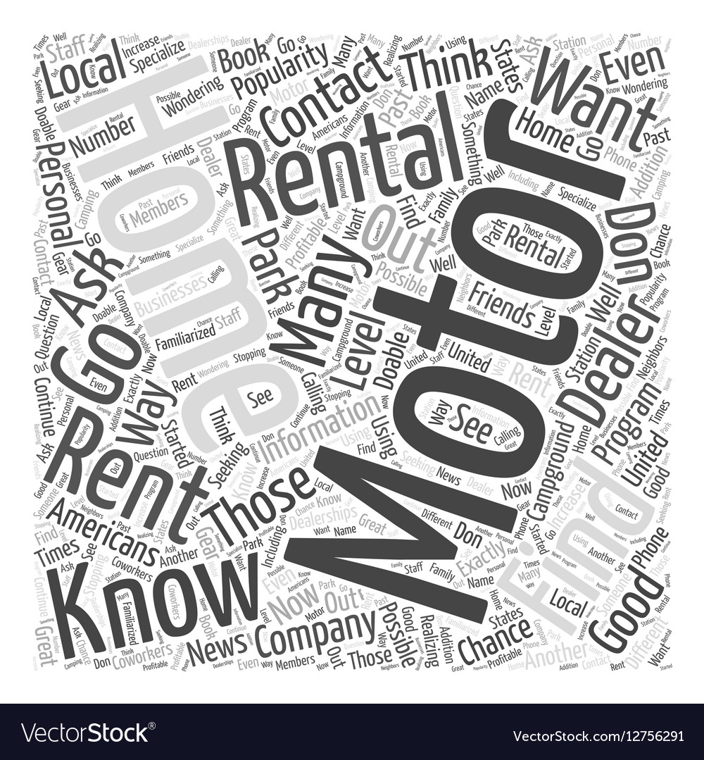 How to Find Motor Home Rentals Word Cloud Concept vector image