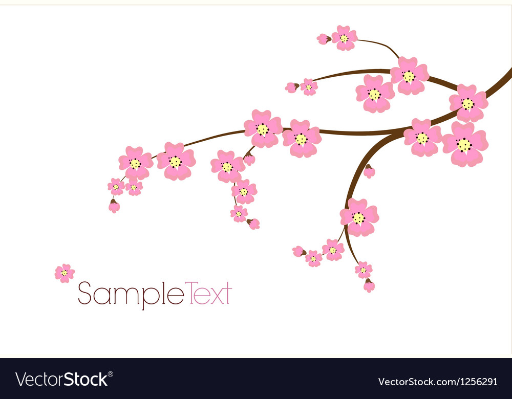 Postcard with Japanese branch vector image