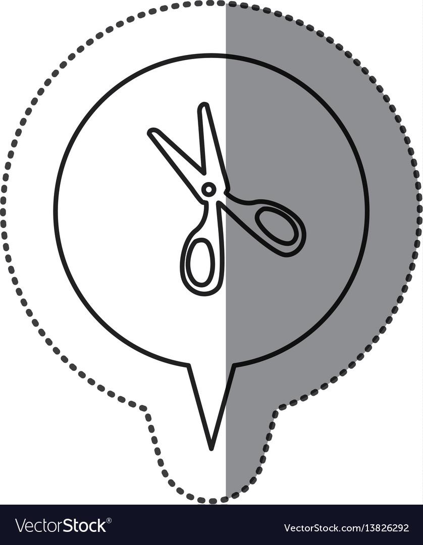 Monochrome contour sticker with scissors icon in vector image