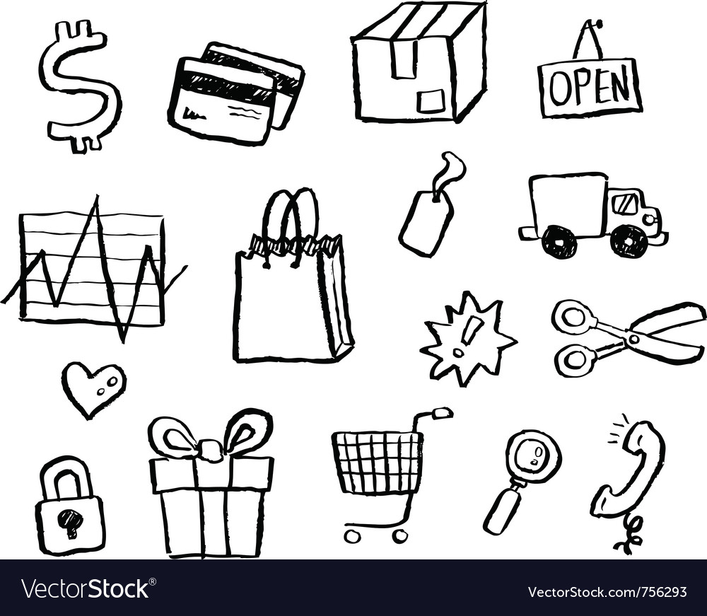 Doodle series - shopping vector image