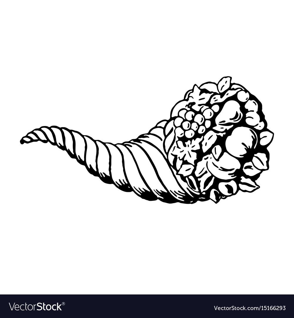 Thanksgiving autumn cornucopia festival emblem vector image