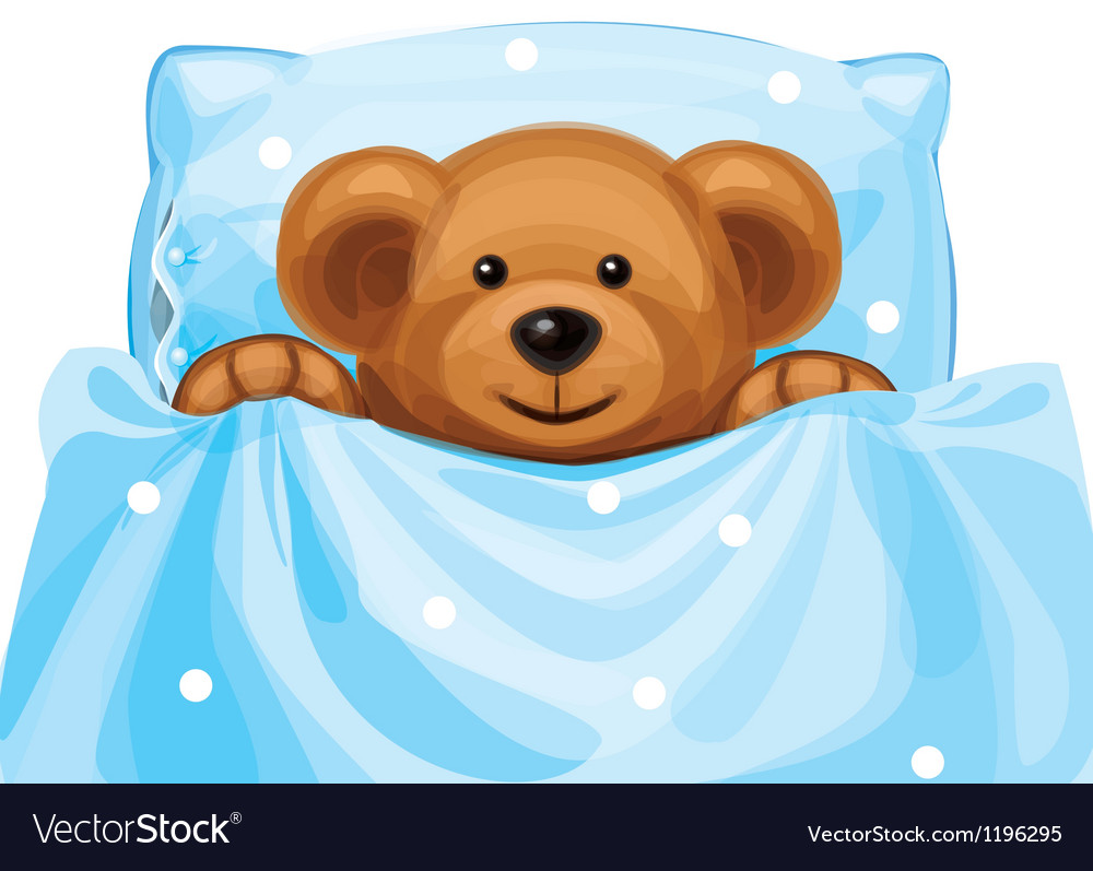 Cute baby bear in bed vector image