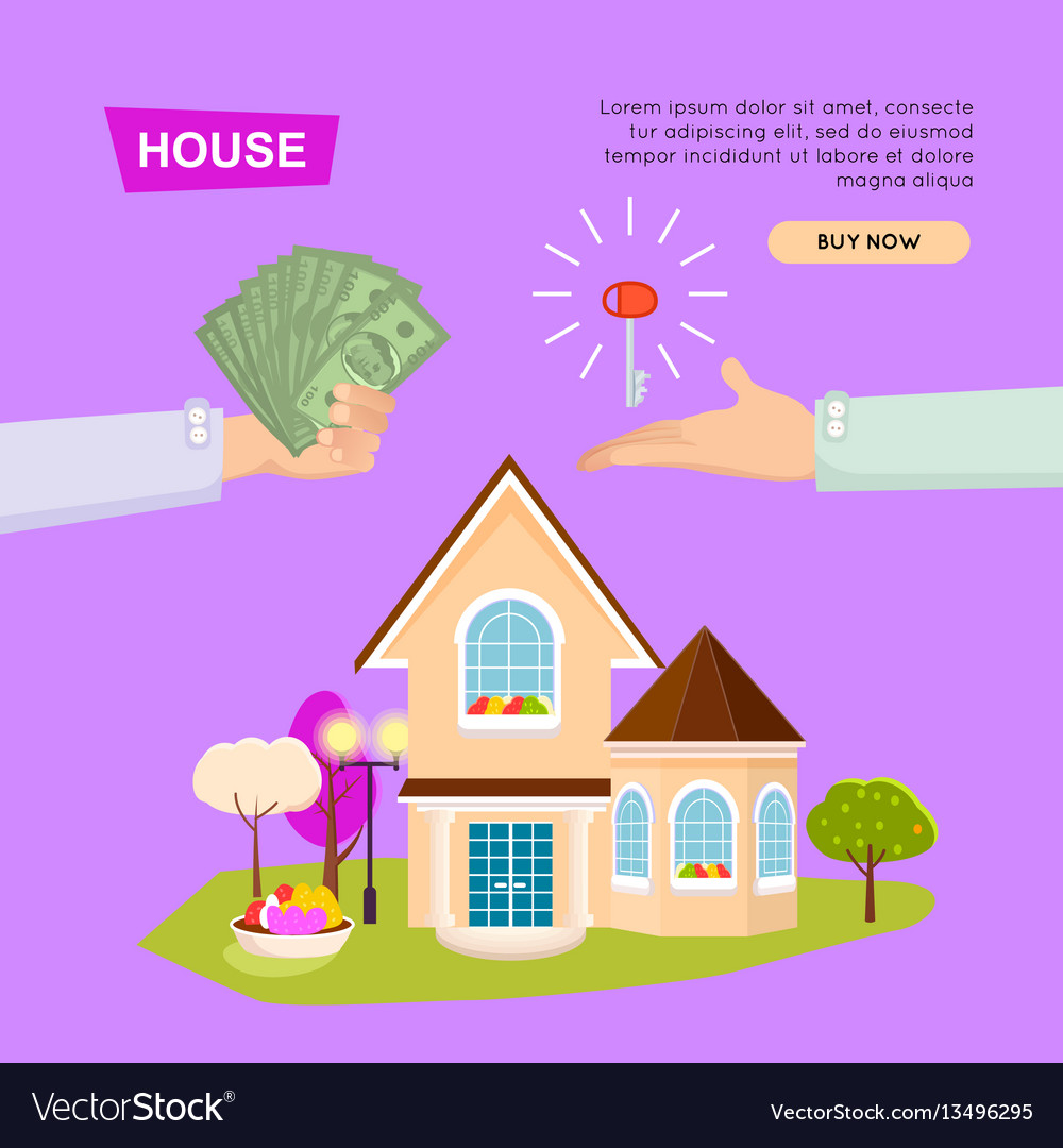Buying house online property selling web banner vector image for Buy house online