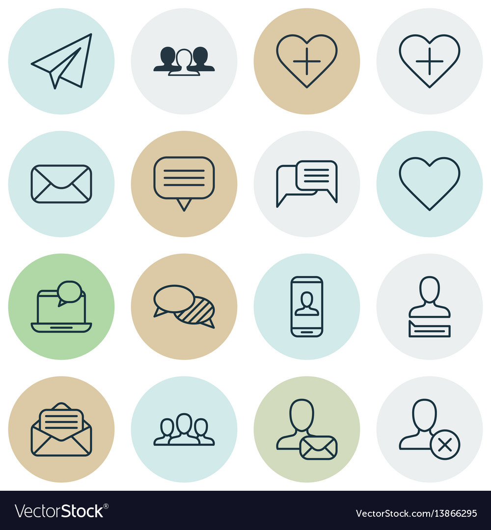 Set of 16 social network icons includes text vector image