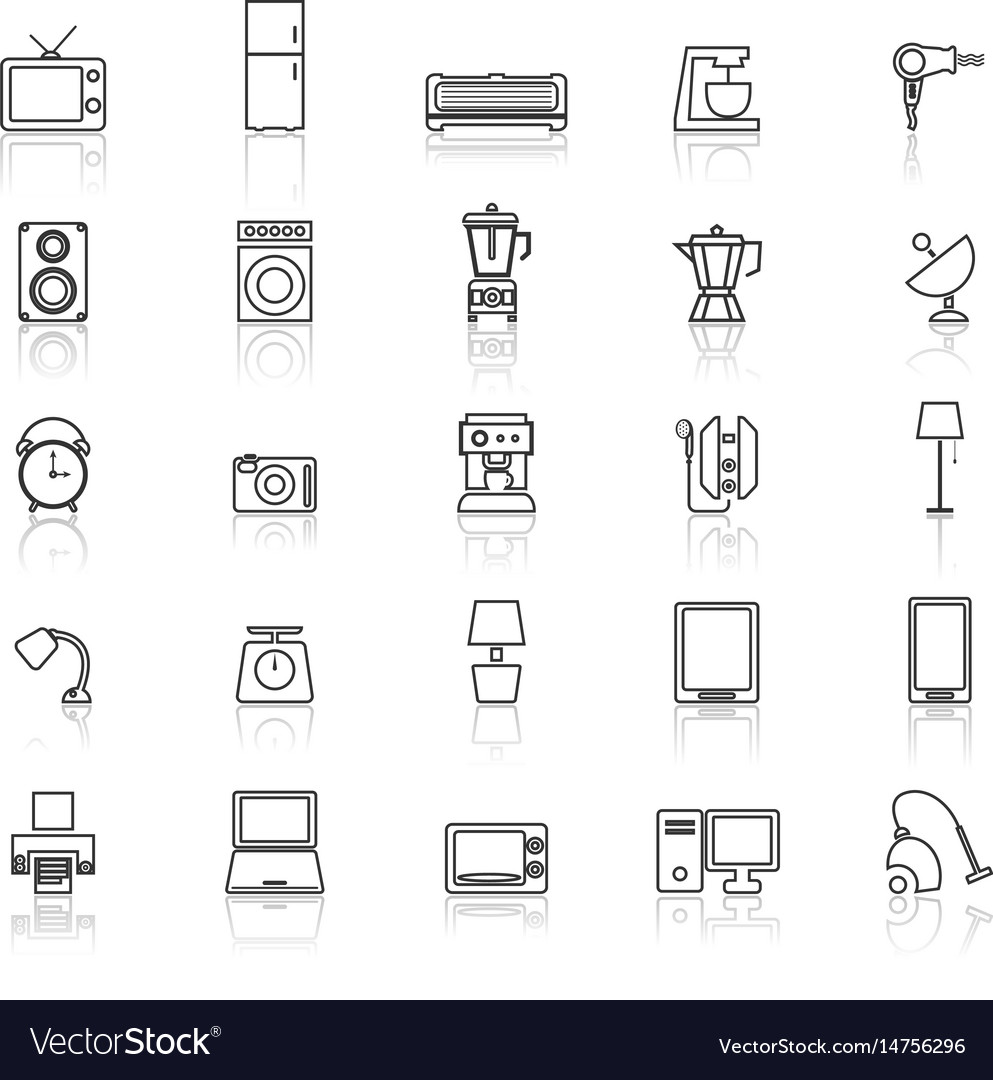 Household line icons with reflect on white vector image