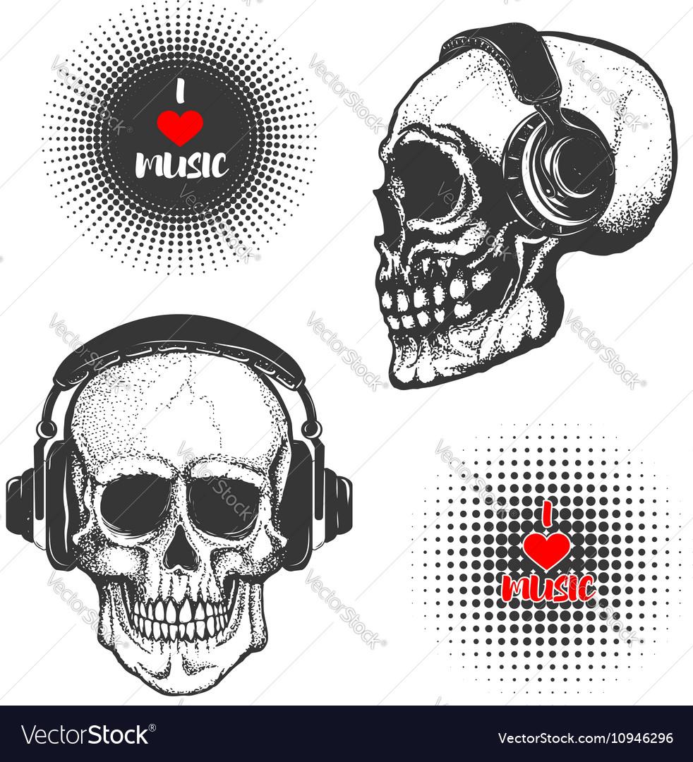 Set of the hand drawn skulls in headphones vector image