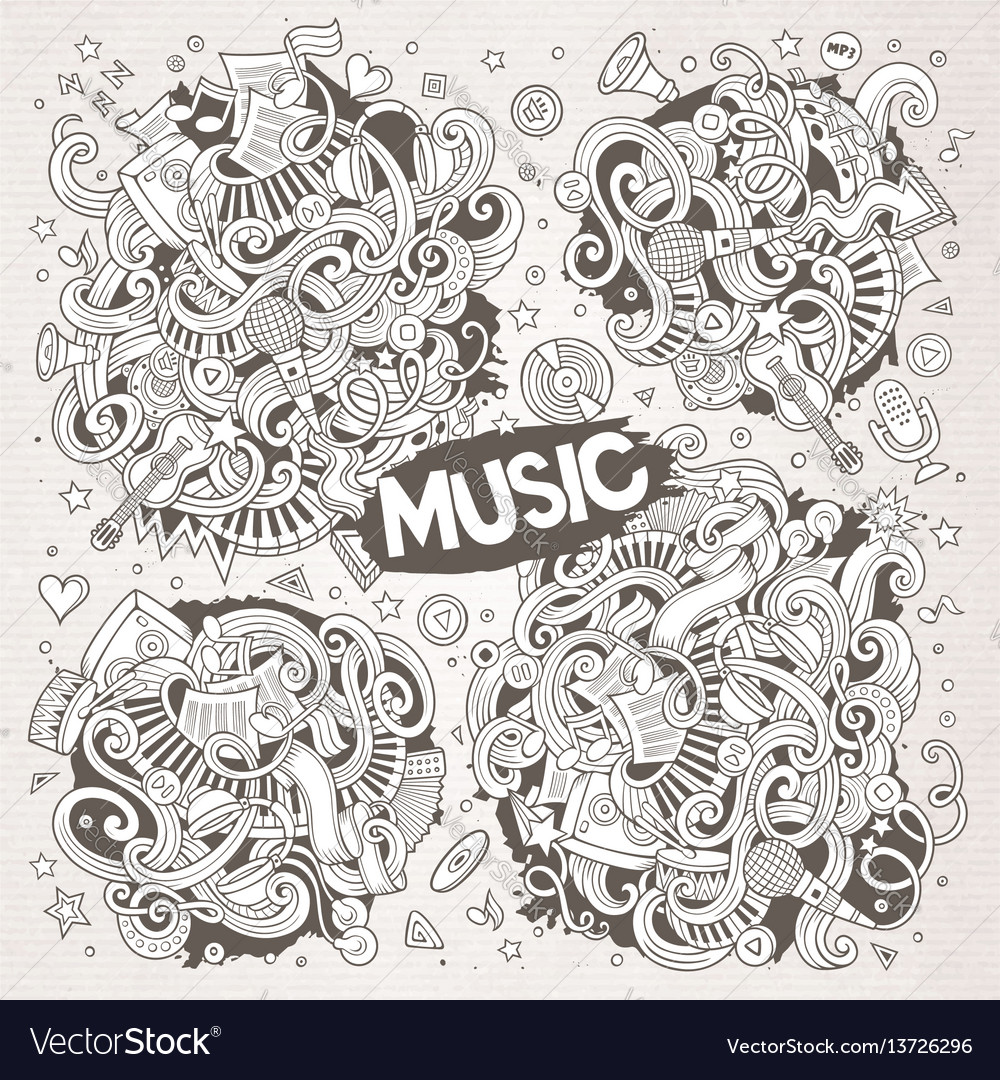 Sketchy doodles cartoon set of music vector image