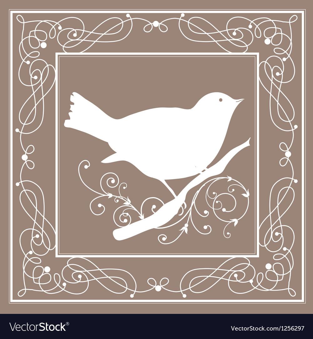Bird frame vintage vector image