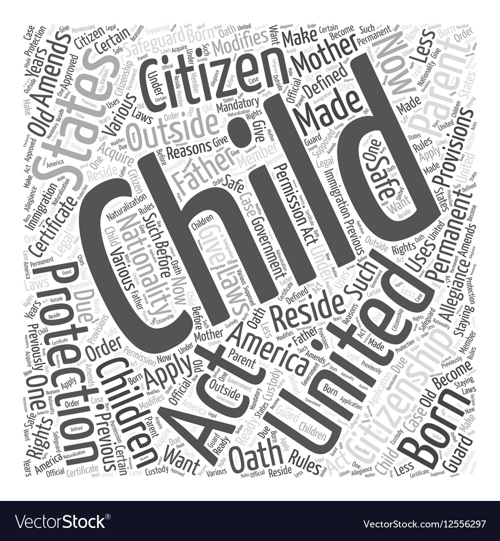 Child citizen protection act Word Cloud Concept vector image