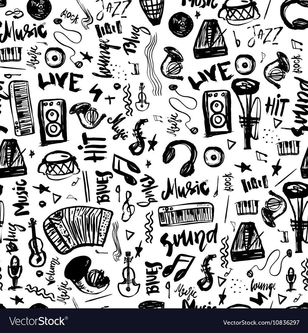 Music symbols funny hand drawn seamless pattern vector image biocorpaavc Images