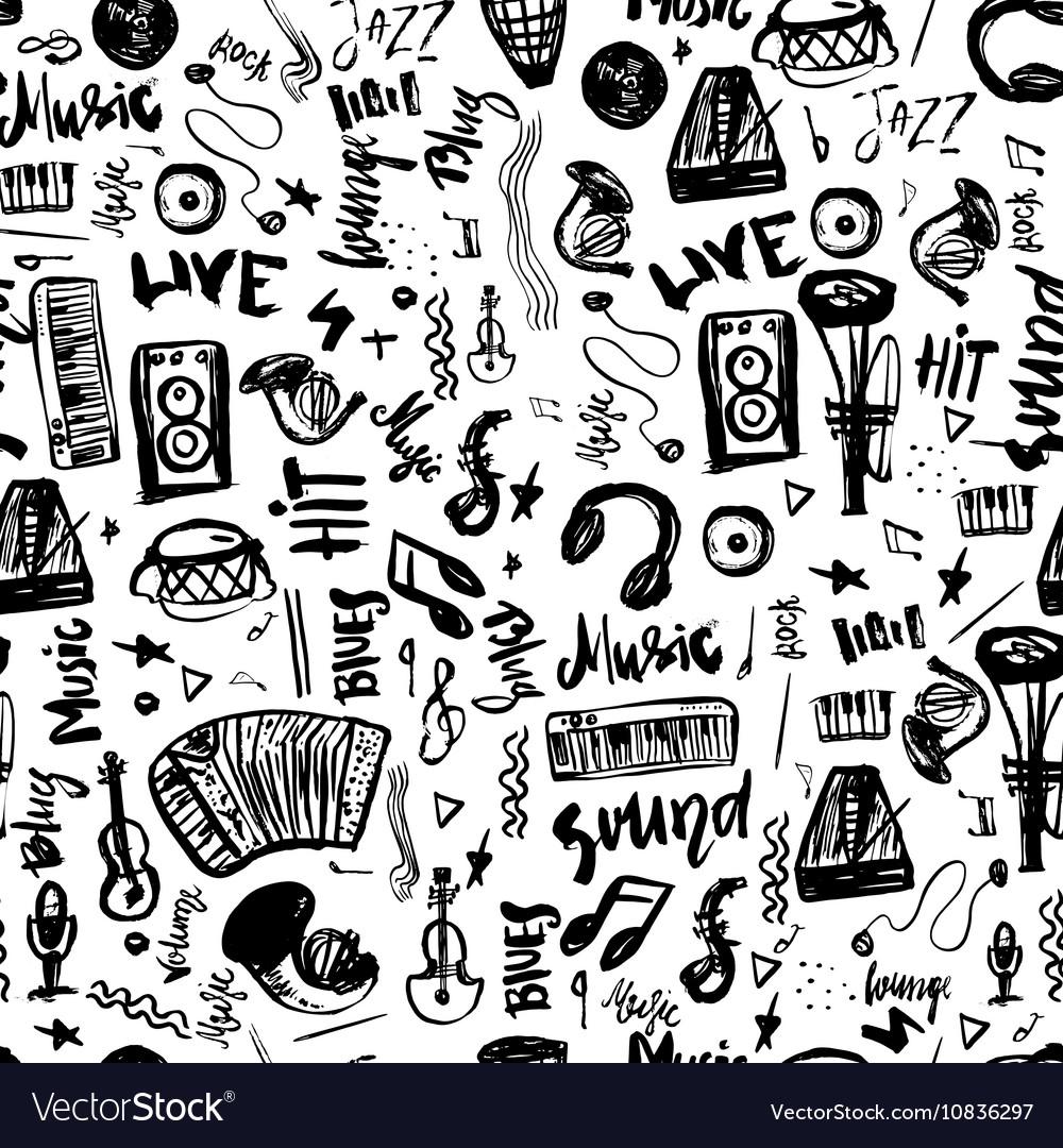 Music symbols funny hand drawn seamless pattern vector image buycottarizona Gallery