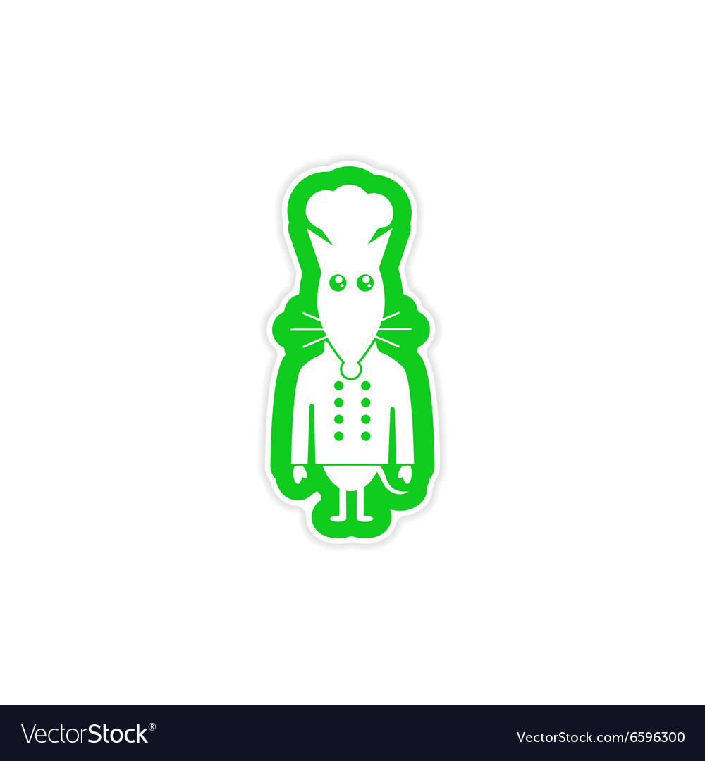 Stylish paper sticker on white background mouse